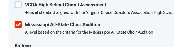 mississippi all state choir checkbox