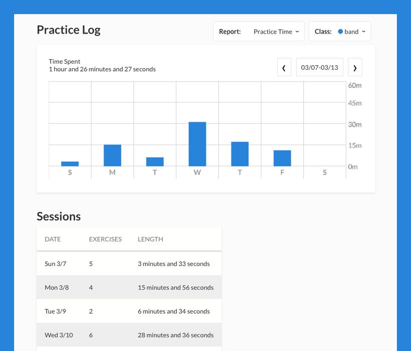 student practice log
