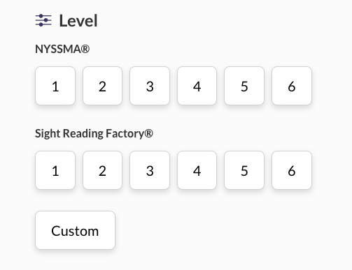 page for choosing a practice level